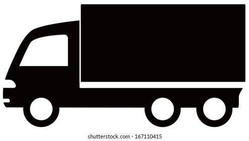 isolated black truck icon - cargo symbol