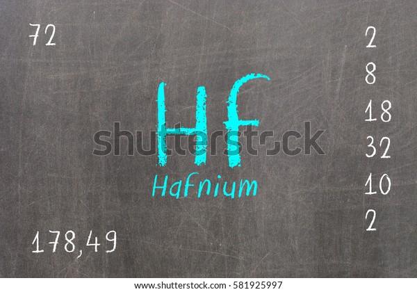 Isolated blackboard with periodic table, Hafnium, Chemistry