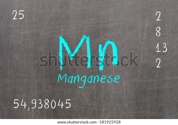 Isolated blackboard with periodic table, Manganese, Chemistry