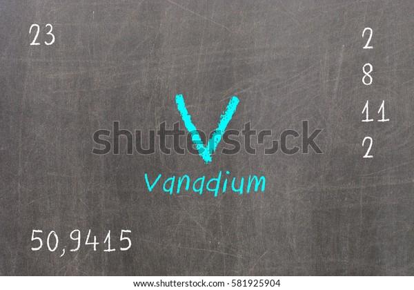 Isolated blackboard with periodic table, Vanadium, Chemistry