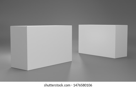 Isolated Blank Package. White Product Box. 3D render