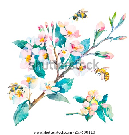Royalty free stock illustration of isolated blossoming branch spring isolated blossoming branch spring flowers and bees spring mightylinksfo