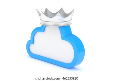 Isolated blue cloud icon with silver crown on white background. Symbol of communication, network and technology. Broadband. Online database. 3D rendering.