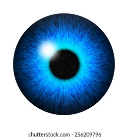 Isolated blue eye pupil