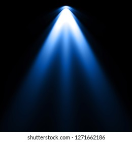 Isolated blue spotlight effect on black background. Light show. Light from the top clipart.