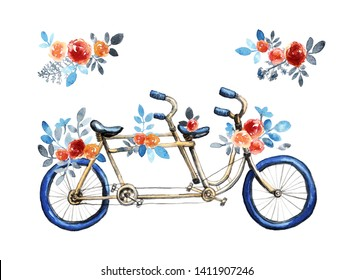Isolated blue tandem bicycle with bouquets. Red rose flowers, blue leaves. Hand painted watercolor style