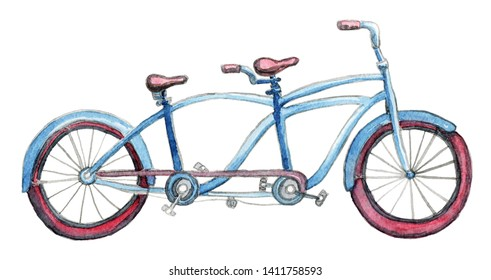 Isolated blue tandem bicycle with purple weels. Hand painted watercolor style