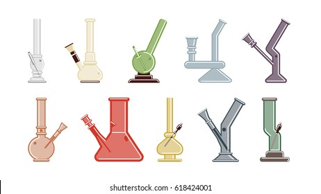 Isolated bongs set on white background. Bongs and waterpipes. Colorful smoking equipment made of glass.