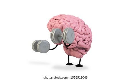 isolated brain doing fitness 3d rendering