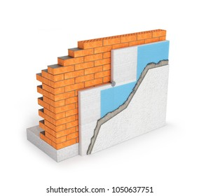 Isolated brick wall thermal insulation concept on white background - 3d illustration
