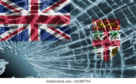 Isolated broken glass or ice with a flag, Fiji