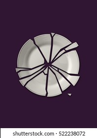 Isolated broken white plate on solid purple background
