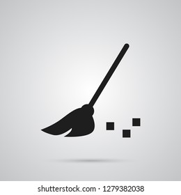 Isolated broom icon symbol on clean background.  besom element in trendy style.