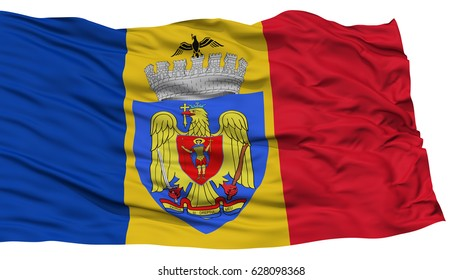 Isolated Bucharest City Flag, Capital City of Romania, Waving on White Background, High Resolution