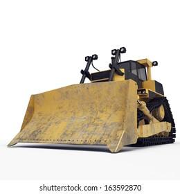 isolated bulldozer on the white background