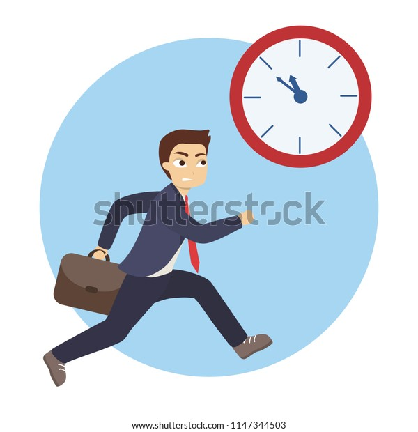 Isolated businessman running after the clock. Concept of deadline.