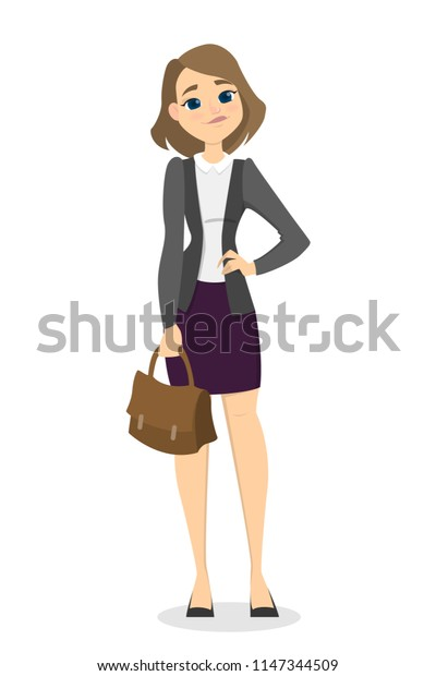 Isolated businesswoman with briefcase standing on white background.