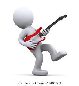 isolated cartoon guitarist