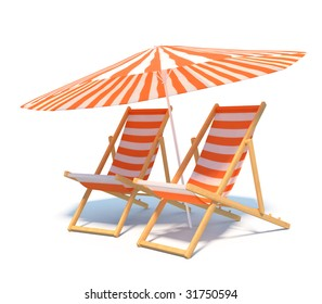 isolated chaises with umbrella