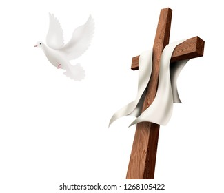 Isolated Christian cross with dove flying away isolated. Resurrection concept. Easter. 3D Illustration