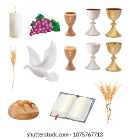 Isolated christian symbols - chalice, grapes, bread, bible, dove, candle, ears of wheat