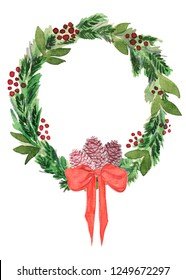 Isolated Christmas wreath with pinecone