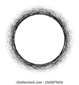 Isolated circular lines.Set of spiral lines.Assymetric radial element.Linear drawing. Illustration pattern.Monochrome concentric background.