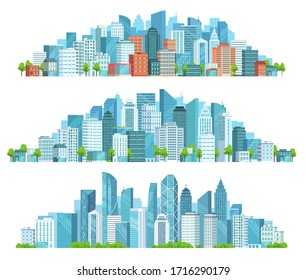 Isolated cityscape. City street, abstract urban and horizontal town landscape panorama cartoon  illustration set. Panoramic views of downtown, district with modern buildings and skyscrapers.