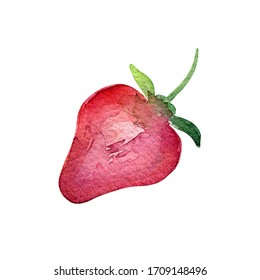 Isolated clipart strawberry for design menus, packaging, fabric. Watercolor strawberries for packaging design. Packaging with strawberries.