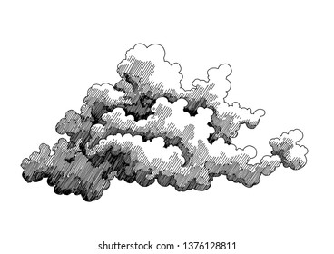 Isolated cloud. Decorative drawing. Pen and ink retro classic engraving style illustration.