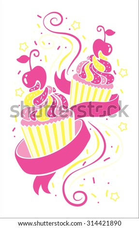 isolated colorful cupcakes icons print illustration stock