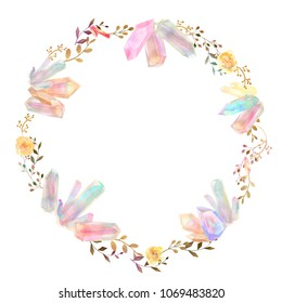 isolated colorful watercolor crystal cluster and foliage leaf wreath