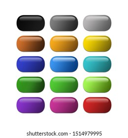 Isolated and colourful glossy buttons with reflections
