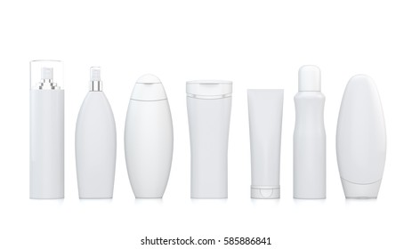 Isolated cosmetic bottles in a row 3d rendering