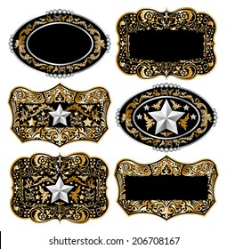 Isolated Cowboy belt buckle master collection set design