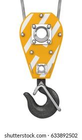 Isolated crane hook hanging on steel. 3d illustration