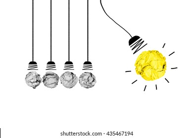 isolated creative inspiration from colour concept crumpled paper light bulb metaphor for good idea on white background/solution thinking answer/power of pendulum think effect others