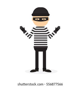 Isolated criminal person on white background. Cartoon robber or thief with striped outfit and mask.