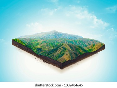 Isolated a cross section of ground with mountains and meadows. 3d illustration