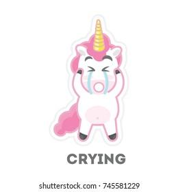 Isolated crying unicorn on white background. Funny cartoon character.