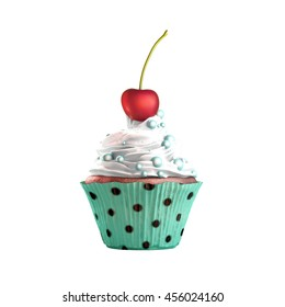 Isolated cupcake with cream, cherry and candies. 3D Rendering