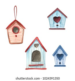 isolated cute watercolor birdhouses