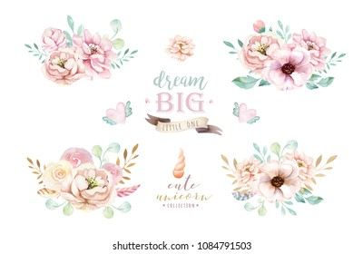 Isolated cute watercolor bouquet clipart. Nursery unicorns illustration. Princess urainbow poster. Trendy pink cartoon pony horse.
