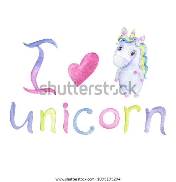 Isolated Cute Watercolor Unicorn Clipart Nursery Stock