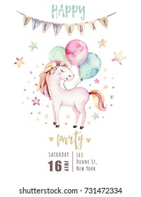 Isolated cute watercolor unicorn invitation card. Nursery unicorns illustration. Princess unicorns poster. Trendy pink cartoon horse.