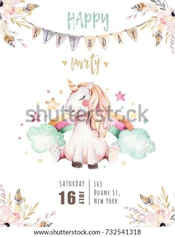 isolated cute watercolor unicorn invitation cardのイラスト素材