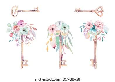Isolated cute watercolor unicorn keys clipart with flowers. Nursery unicorns key illustration. Princess rainbow poster. pink magic poster