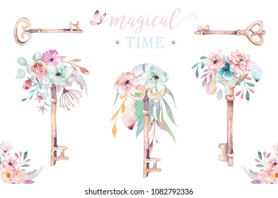 Isolated cute watercolor unicorn keys clipart with flowers. Nursery unicorns key illustration. Princess rainbow poster. pink magic poster