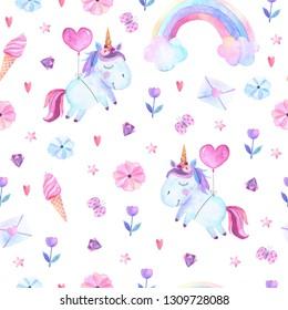 Isolated cute watercolor unicorn pattern. Nursery unicorns aquarelle.
