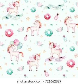 Isolated cute watercolor unicorn pattern. Nursery unicorns aquarelle. Princess unicornscollection. Trendy pink cartoon horse.